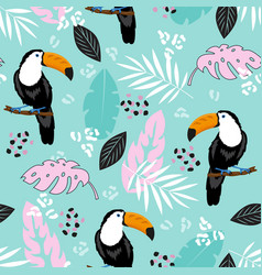 tropical leaves and toucan on blue background vector image