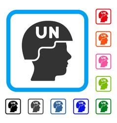 United nations soldier helmet framed icon vector