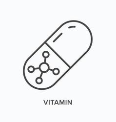 Vitamin flat line icon outline vector