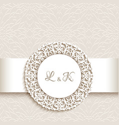 wedding card with round lace label vector image