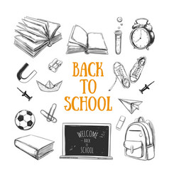 welcome back to school collection hand vector image