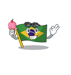 With ice cream flag brazil isolated with the vector