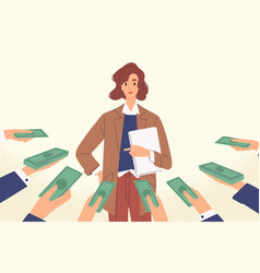 Woman popular specialist with money at human hands vector
