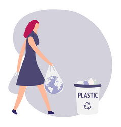 Woman with trash keep clean vector