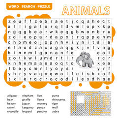 Words search puzzle game animals for preschool vector