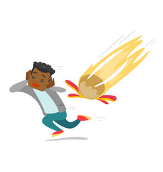 Young african man running from falling meteorite vector
