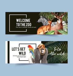 Zoo banner design with gorilla zebra deer vector