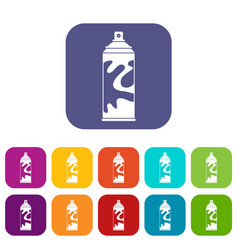 colored spray icons set flat vector image vector image