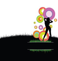 girl with circle in nature vector image