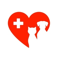 icon with pet heart and cross vector image vector image