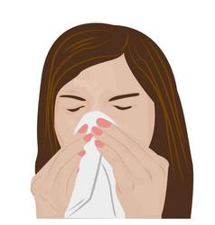 woman sneezing vector image