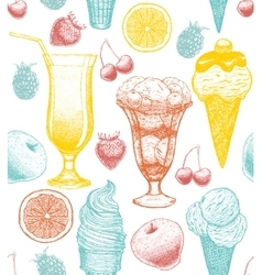 background with ice-cream cocktail fruits vector image