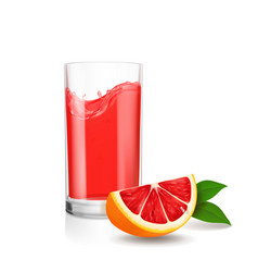 grapefruit juice in glass red juice splash vector image
