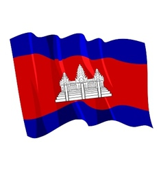 political waving flag of cambodia vector image