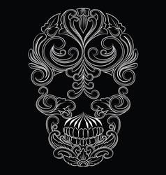 Skull Line Ornament vector image