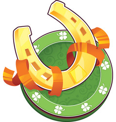 st patrick day symbol the golden horseshoe vector image