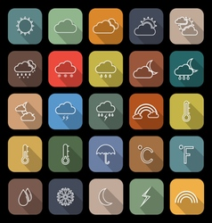 Weather line flat icons with long shadow vector image