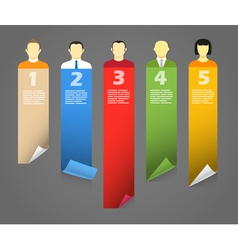 Color account avatars with bending paper banners vector image vector image