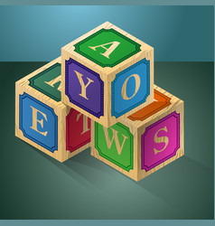 cubes with letters a logic game for the child vector image