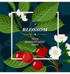 Floral background with cherry berries and cherry vector image