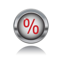 metal button with percent sign vector image