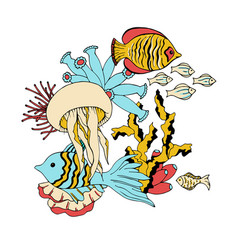 underwater sea life animals vector image