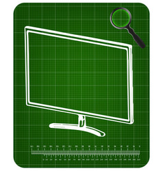 3d model of the monitor on a green vector image