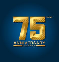 75 years anniversary celebration logotype golden vector