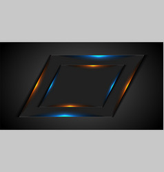 abstract dark geometric frame with glowing neon vector image
