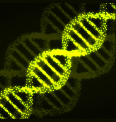 abstract dna spiral with glowing particles vector image