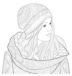 adult coloring bookpage a cute girl wearing a cap vector image