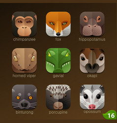 Animal faces for app icons-set 16 vector