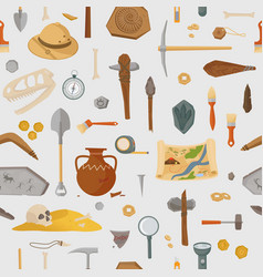 Archaeological ancient finds and tools seamless vector