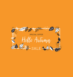 Autumn sale background banner with leaves vector
