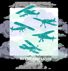 background with colored airplanes vector image