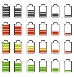 Battery charge icons set various styles of vector