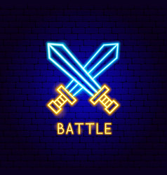 Battle neon label vector