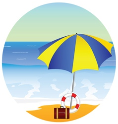 Beach paradise with umbrella vector