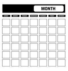 black and white blank calendar template with vector image