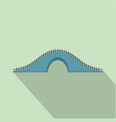 blue bridge icon flat style vector image