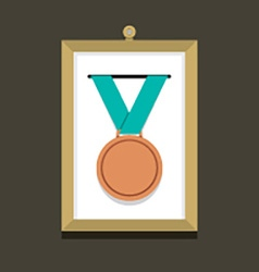Bronze Medal In A Picture Frame vector image