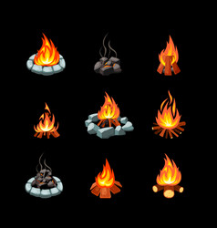 Campfire collection pictures glowing flame vector