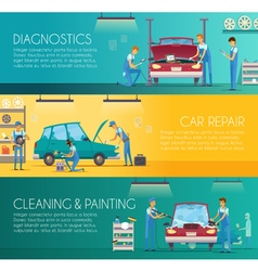Car Repair Center Retro Cartoon Banners vector image