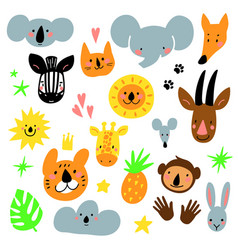 cartoon animal heads set modern concept of flat vector image