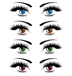 cartoon female eyes set vector image