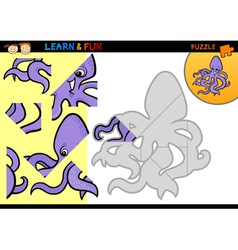 Cartoon octopus puzzle game vector image
