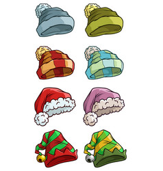 Cartoon winter santa hat big icon set vector