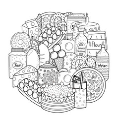 circle shape coloring page with doodle food black vector image