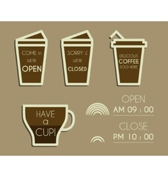 Coffee signs Open and Closed elements Dream vector image