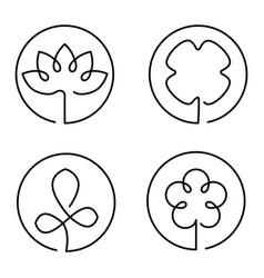 Continuous line art logo set flower clower vector